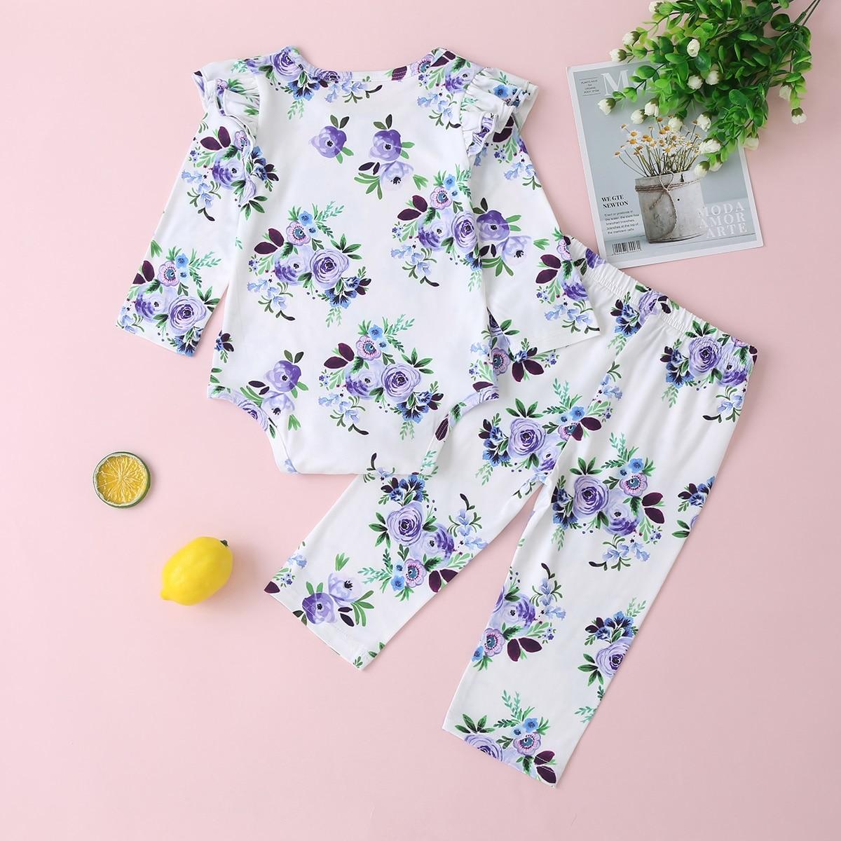 Осенняя одежда для новорожденных девочек 3 предмета хлопковое