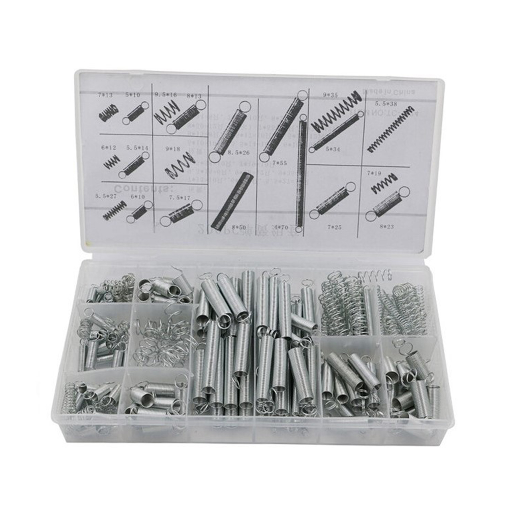 200pcs With Storage Box Accessories Extension And Compression Coil Portable Hardware Tool Spring Set Metal Steel Assorted(China)