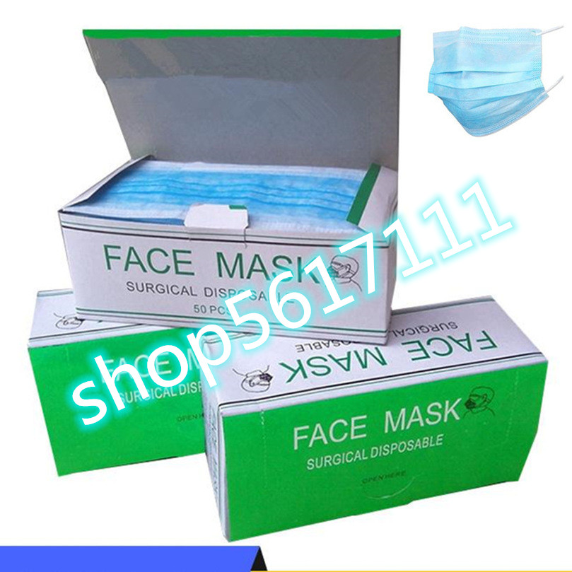 Hot Sale 50 Pcs Solid Color Face Mouth Masks Anti Non Woven Disposable Anti-Dust Surgical Masks Off The Shelf