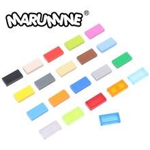 MARUMINE 600PCS Tile 1 x 2  Building Blocks Bulk Brick 3069 MOC Bricks DIY Toys Accessories Educational  Mass Pack For Children