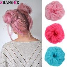 Messy Bun Hair-Bun Donut-Roller Fake-Hair Synthetic Chignon Curly Pink SHANGKE Blue Green