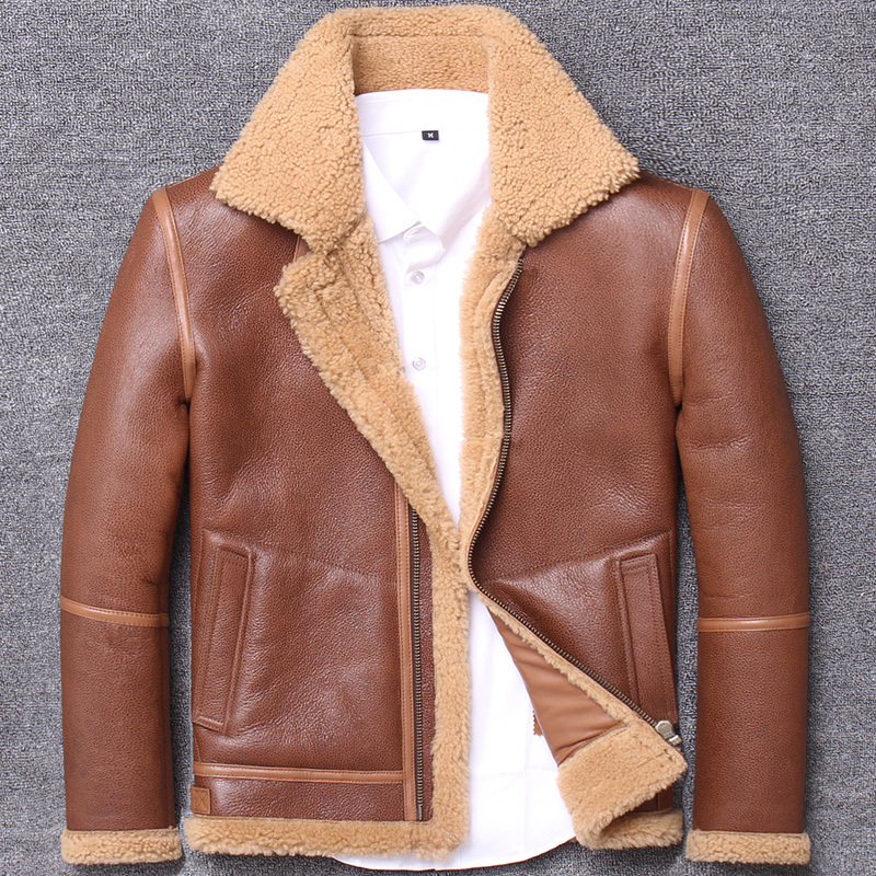 2020 New Genuine Leather Jacket Men Vintage Autumn Winter Sheepskin Coat Shearling Wool Fur Jacket Man M1903 KJ3214