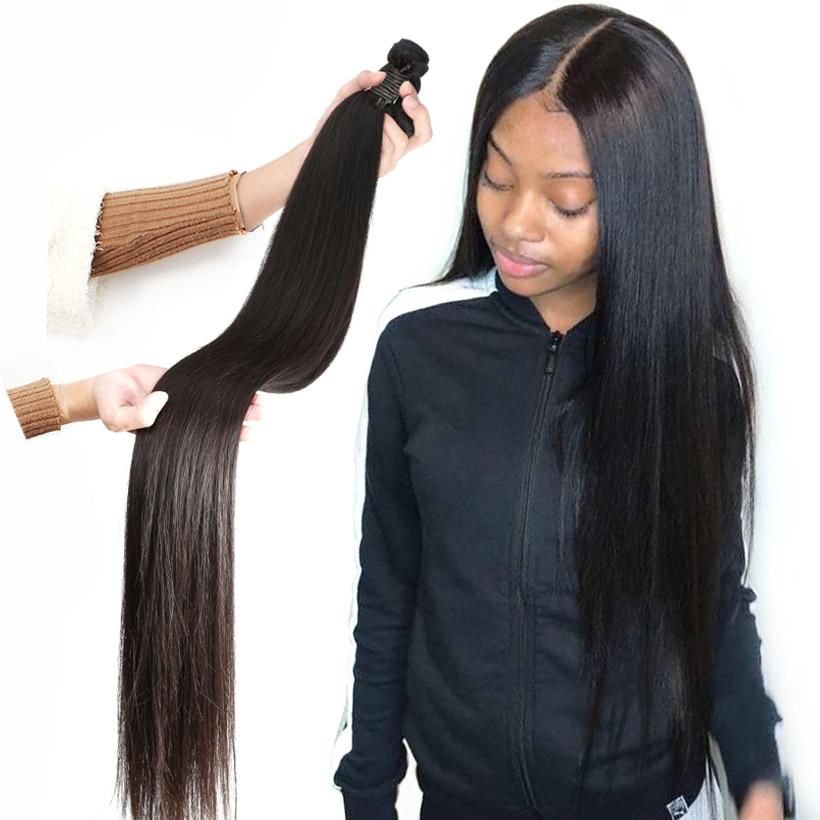 Fashow pacotes de cabelo em linha reta 30 32 34 36 40 tramas dobro do cabelo brasileiro feixes de cabelo humano natural remy tecer extensões