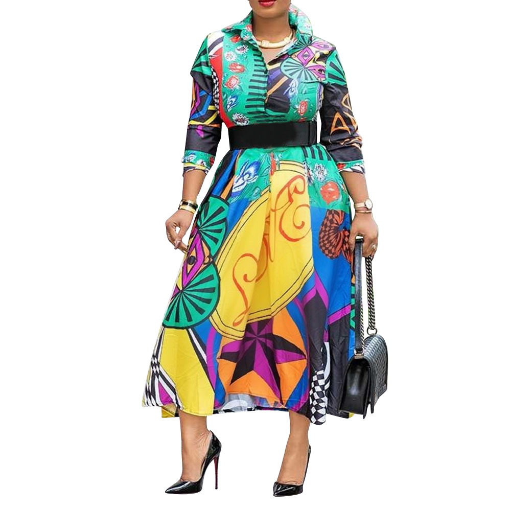 African Printed High Waist Shirt Dress Vintage Fall Long Sleeve Fashion A Line Elegant Office Ladies Work Wear Autumn Midi Dress
