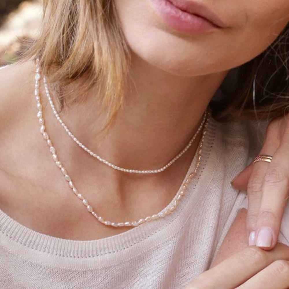 2020 Hot new minimalist real pearl necklace 2mm/3 4mm size freshwater pearl necklace choker simple delicate jewelry for women