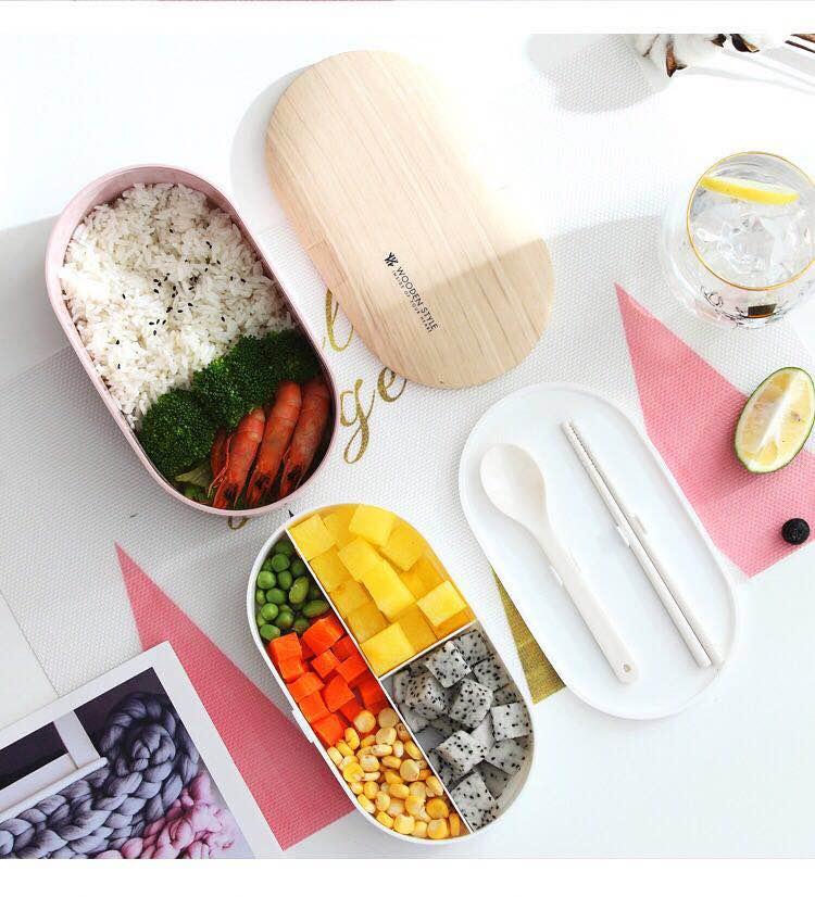 Portable santé matériel boîte à déjeuner 800ML Woody ovale Double boîte à déjeuner micro-ondes vaisselle alimentaire stockage conteneur boîte à déjeuner