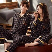 Новинка Осень 2020 Хлопковая пижама xifer для пар из двух частей