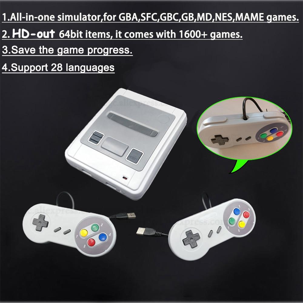 64 Bit 4K HD Arcade Video Game Console for Super Nintendo for Sega HD 1600 Plus Retro Games Mini Gamepad Joystick Dropshipping