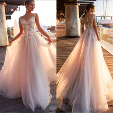 2020 Beach Lace Appliques A Line Wedding Dresses Sheer Scoop Neck Covered Button Tulle Long Bridal Wedding Gowns Dresses