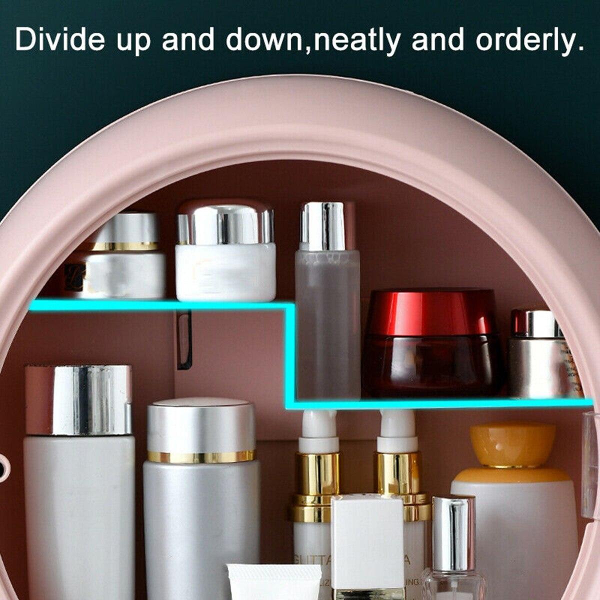 펀치 없음 벽 마운트 화장품 보관 상자 방수 및 방진 욕실 주최자 뷰티 세면 용품 키트 메이크업 박스