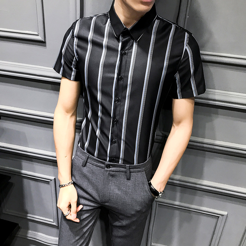 Summer Men Shirt Short Sleeve Fashion 2020 New Slim Fit Mens Striped Shirts All Match Simple Young Man Work Shirt Male Clothes
