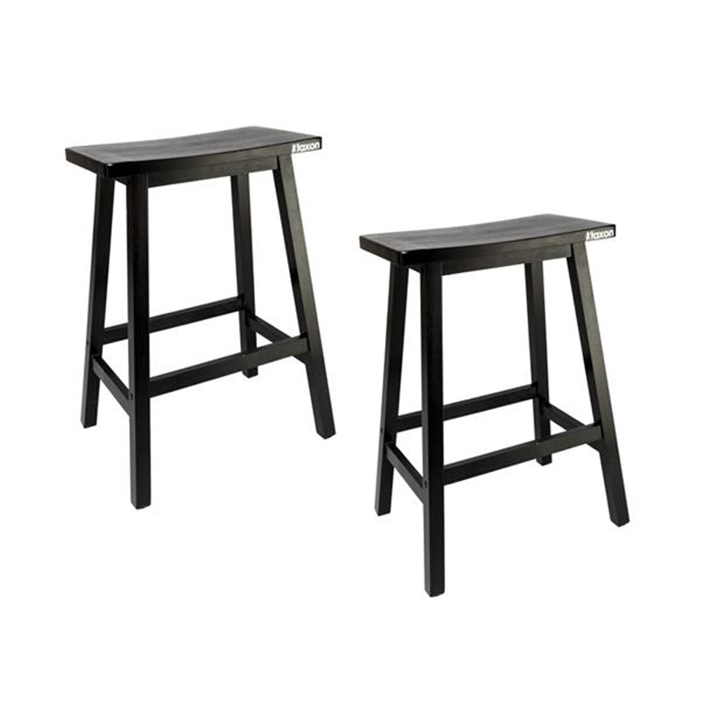 High Quality 2pcs Pine Wood Saddle Seat Bar Stool Black Chair For Bar Shop Bar Chair
