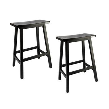 High Quality 2pcs Pine Wood Saddle Seat Bar Stool Black Chair for Bar Shop Bar Chair