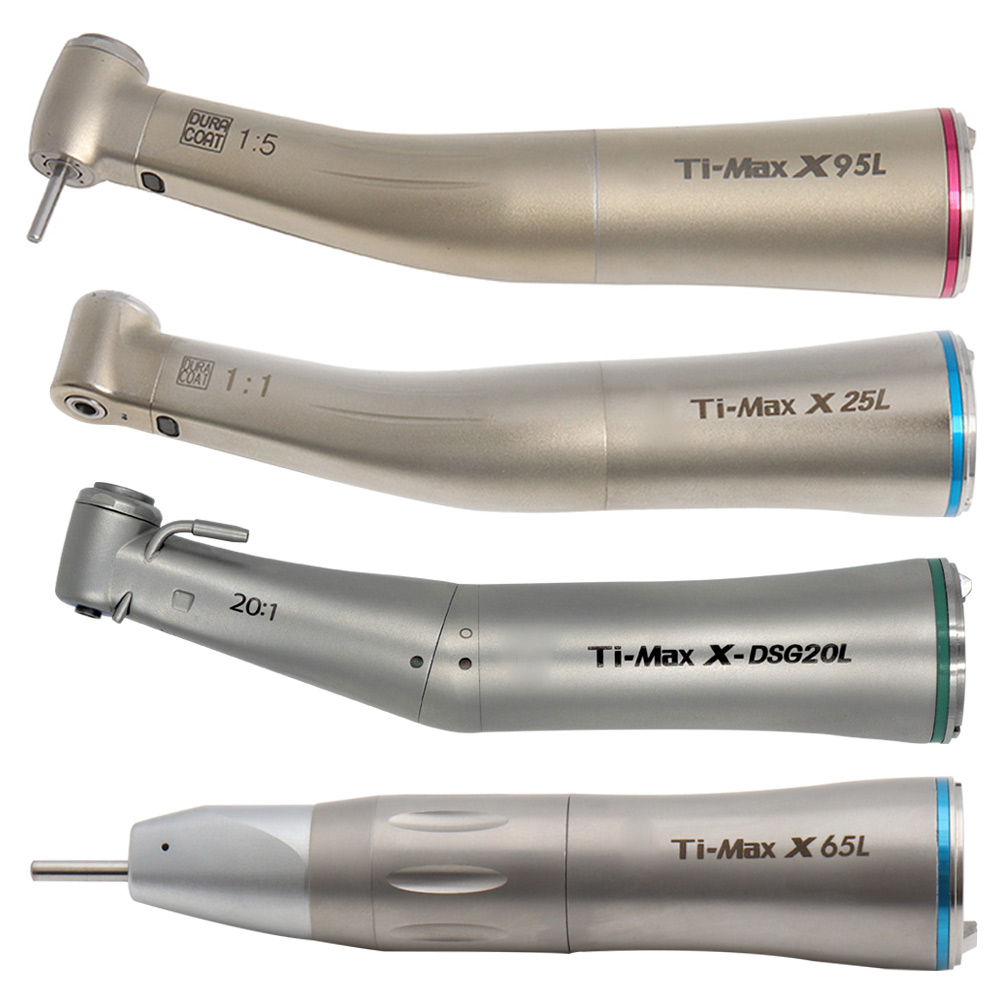 Dental LED Optic Fibre Straight Nose Contra Angle Low Speed Handpiece Dental Air Turbine Ti-MAX