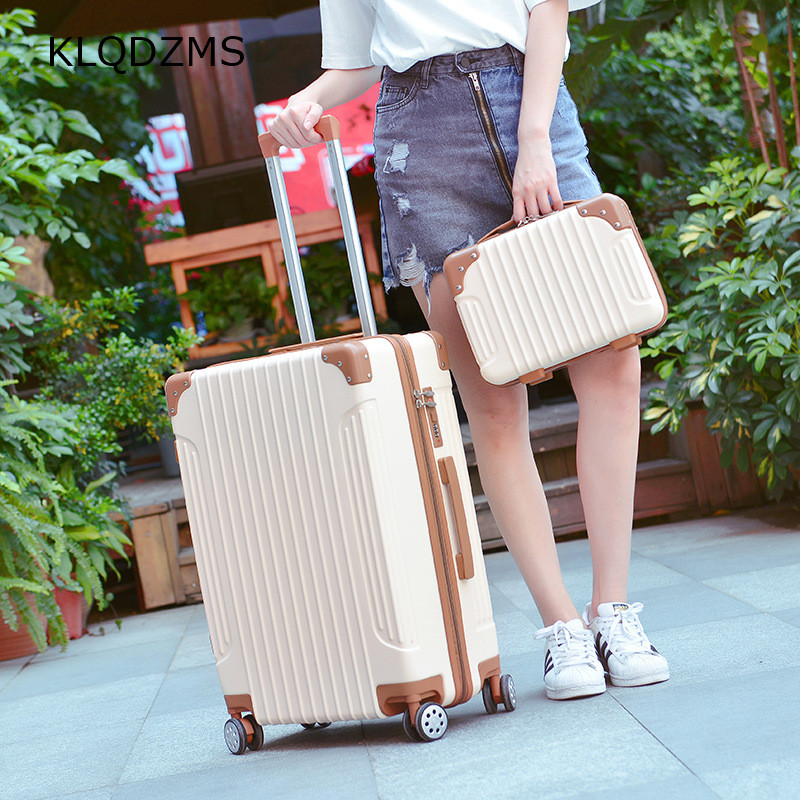 KLQDZMS  Classic Trolley Luggage Bag Set Carry On Spinner Wheels Suitcase With Women Cosmetic Bag ABS 20''22''24''26 Inch