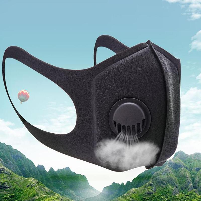 Anti-fog Mask 3D Mouth Cover Anti Dust Mask Anti Pm2.5 Pollution Face Mouth Respirator Black Breathable Valve Mask