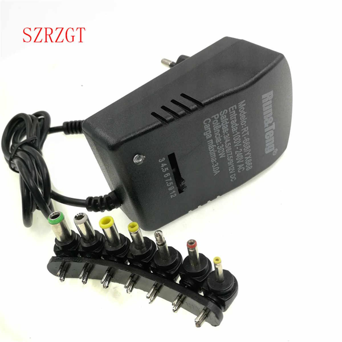 Ổ điện đa năng ADAPTER Đa 3V 6V 9V 12 V Adapter 3 6 9 12 V Volt Cáp Chuyển Đổi 7 Phích Cắm Bộ Điều Hợp 3A 30W