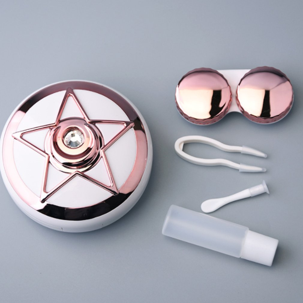 Alice Star Diamond Contact Lens Case Portable Storage Contact Lens Case Box Holder Container Outdoor Travel Contact Lenses Box