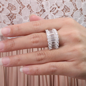 Luxury Solid 14K  Moissanite Diamond  Round Cut Half Eternity Wedding Band 5