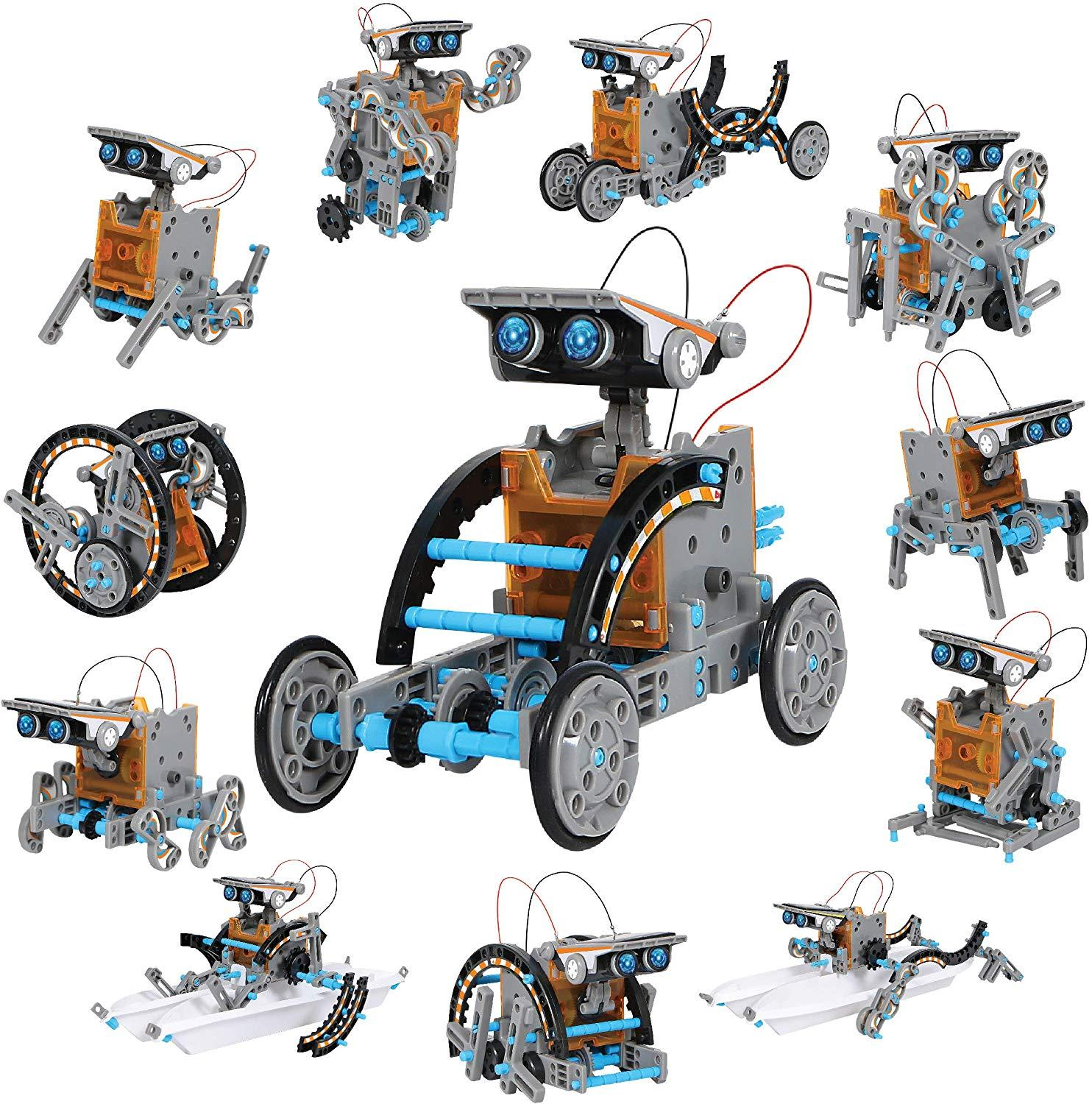 Kids Mindblown STEM 12-in-1 Solar Robot Creation 190-Piece Kit with Working Solar Powered Motorized Engine and Gears
