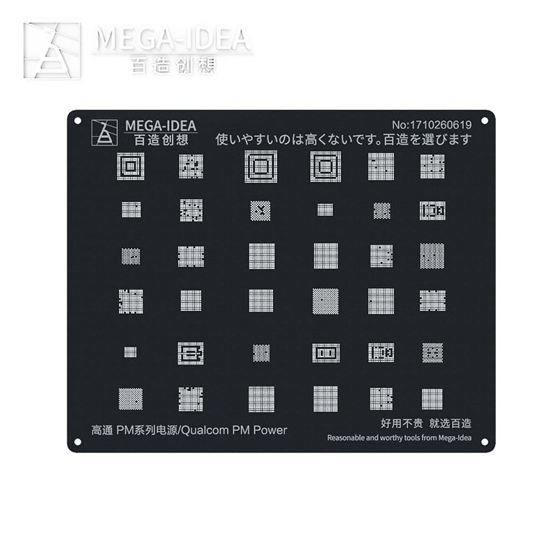 Qianli Mega-idea BGA Reballing Stencil Square Hole Black Tin Planting Net ForAndroid Qualcomm PM Maxim Series Power Repair