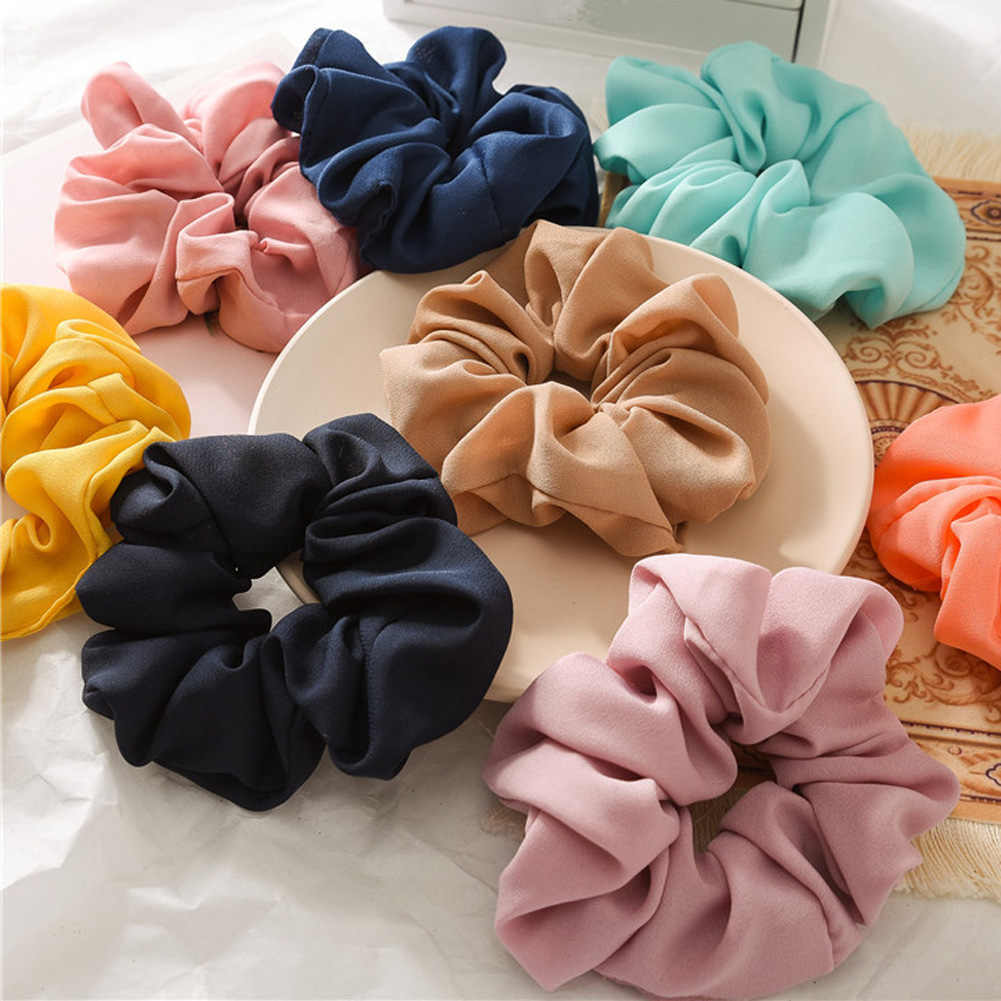Pure Color Lady Hair Scrunchies Ring Elastic Hair Bands Pure Color Bobble Sports Dance Soft Charming Scrunchie Hairband