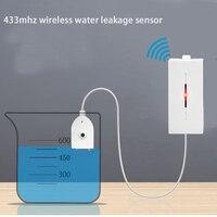 Sensor de fugas de agua inalámbrico Detector de intrusos alarma de nivel de agua alarma de desbordamiento 433MHz para alarma de hogar