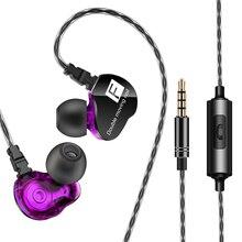 Süper bas kablolu kulaklık çift hareketli bobin kulaklık çift sürücüler kulaklık fone de ouvido Stereo kulaklık Redmi Umidigi MP3