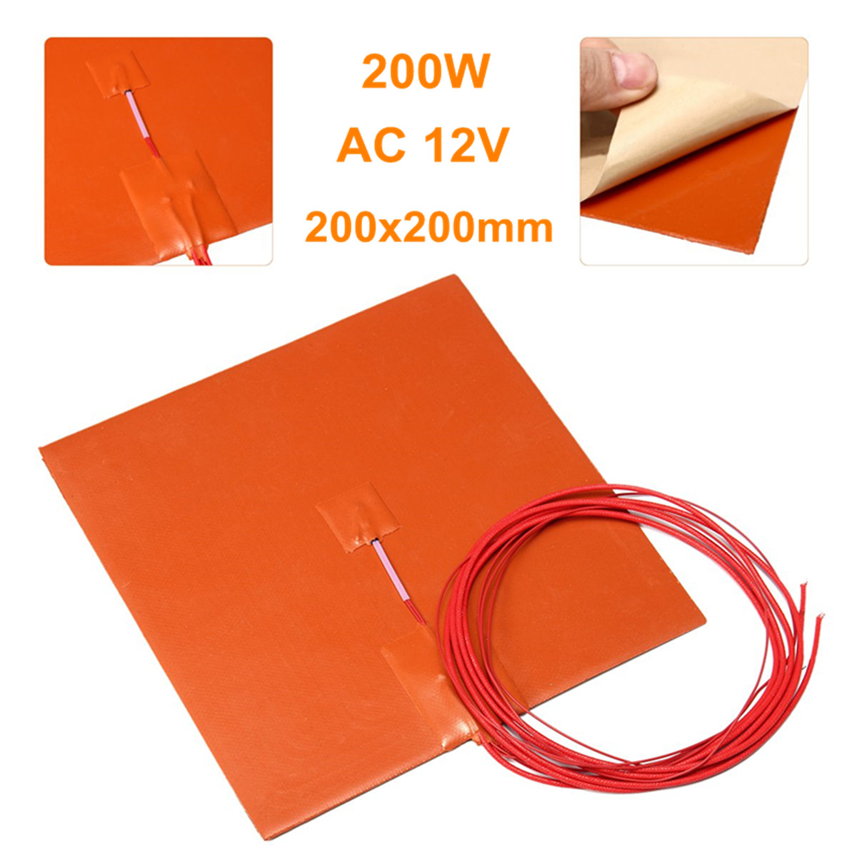 200W 12V AC Flexible Waterproof Silicon Heater Pad Wire Electric Heating Pads For 3D Printer Part Heated Bed Heating Mat 20x20cm