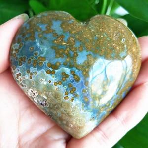Natural sea jasper stone sea gem heart crystal stone mineral specimen crystal ston(China)