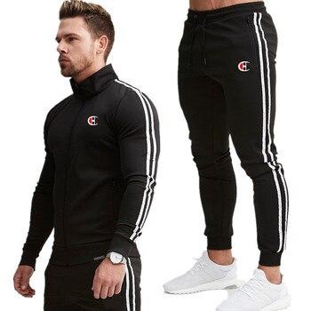 Men's Jacket + Pants Tracksuit Male splice Long Sleeve red black Casual 2 Piece Set male pocket zipper design men Sportswear