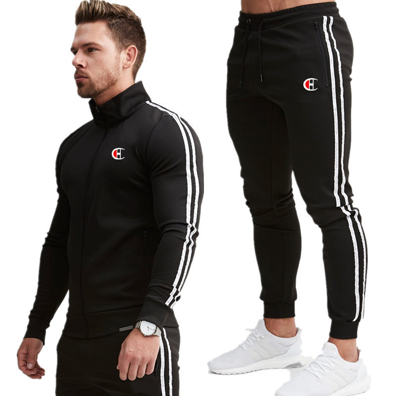 Men's Jacket + Pants Tracksuit Male Splice Long Sleeve Red Black Casual 2 Piece Set Male Pocket Zipper Design Men Sportswear