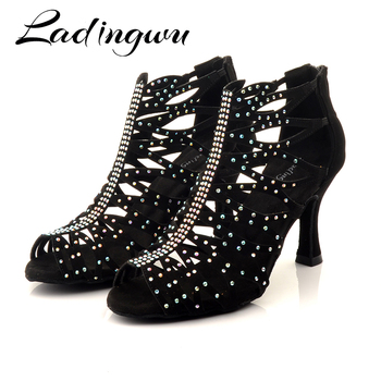 Ladingwu Suede Latin Dance Shoes  Boots Female Laser Rhinestone Adult Girls Ballroom Tango Dancing