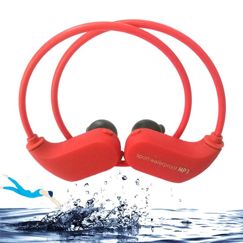 IPX8 Fashion Outdoor Dustproof Waterproof MP3 Player Sport Swimming MP3 Headphone HiFi Music 8G Memory Diving Running Earphones