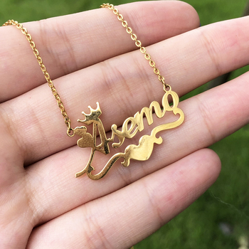 Custom Name Necklace For Women Personalized Gold Heart Ribbon Nameplate Necklace Stianless Steel Chain Choker BFF Jewerly Gift long blue ribbon choker necklace