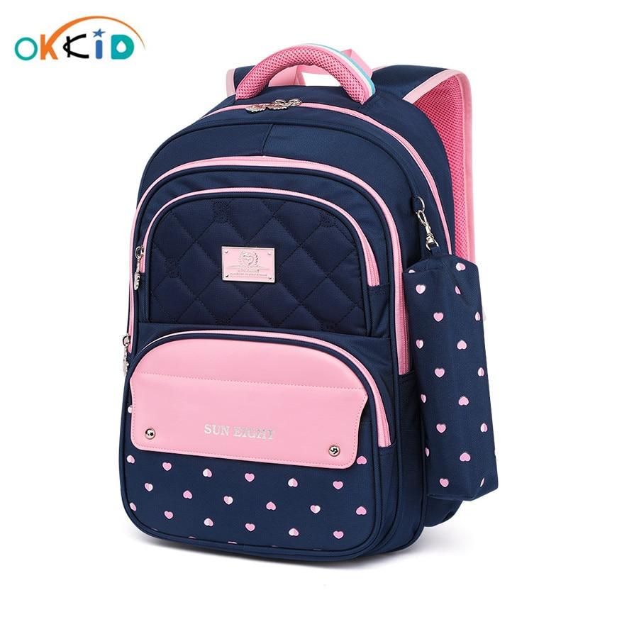 OKKID Elementary School Bags For Girls Polka Dot Bookbag Kids Cute Pen Pencil Bag School Girl Student School Backpack Child Gift