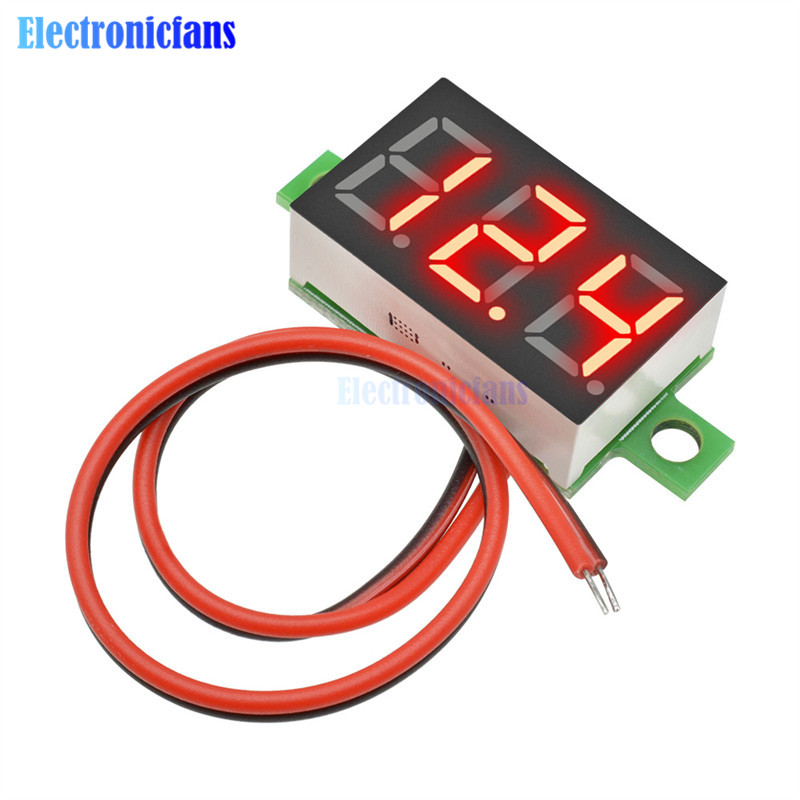 0.36 Inch Mini LED Digital Voltmeter Red Panel Voltage Meter DC 4.7~32V 3-Digit Display Adjustment Voltmeter