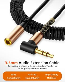 Audio Cable 3.5mm Jack Spring Extension Cord Audio Line Car Stereo Audio Cable For Headphones Mobile Phone Computer Speakers image