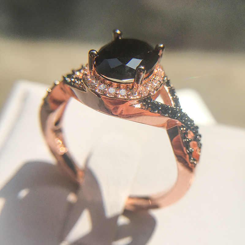 สีดำเจาะแหวนชุดงานแต่งงานแหวนนิลสีดำสำหรับผู้หญิงสองโทนฝังเพชรสีดำสีขาวแหวน Zircon หมั้นแหวน