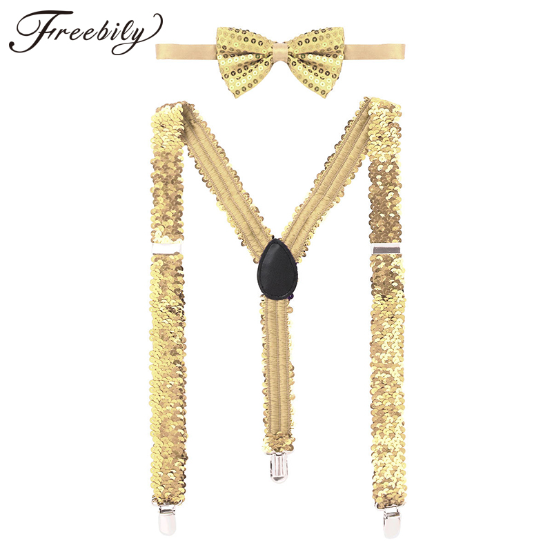 2Pcs Womens Shiny Sequins Elastic Y Shape Adjustable Braces Pant Suspenders Shoulder Straps With Bow Tie For Cosplay Party