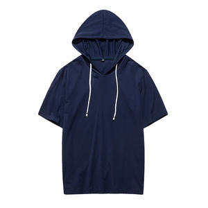 Mens T-Shirt Short-Sleeve Summer Casual Hoodie Tee Tops Spring Slim-Fit S-2XL Large-Size