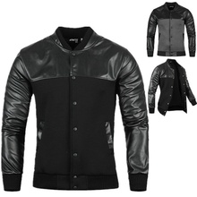 ZOGAA Man Jacket Autumn Mens PU Leather Stitching Black/Grey Leisure Jackets Skim Casual Outerwear and Coats 2019