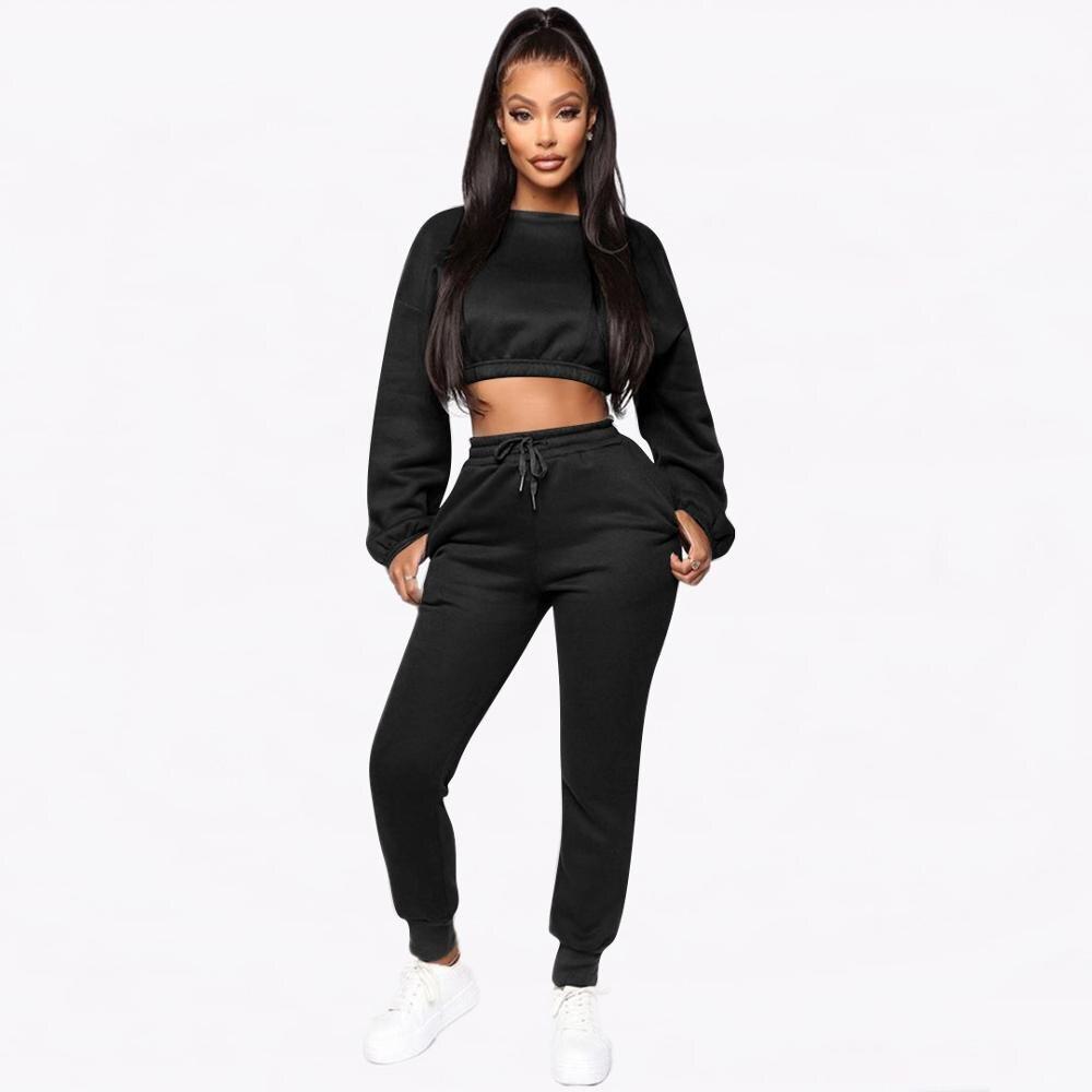 2020 Casual Women Suit Two Piece Set Crop Top Short Sweater + Long Pants Tracksuit Women Solid Color Jogging Femme Solid 3 Color