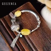 925 Sterling Silver Thai Natural Amber Bracelets Fine Jewelry for Women Handmade Craft Designer Original Bracelet Party Gift
