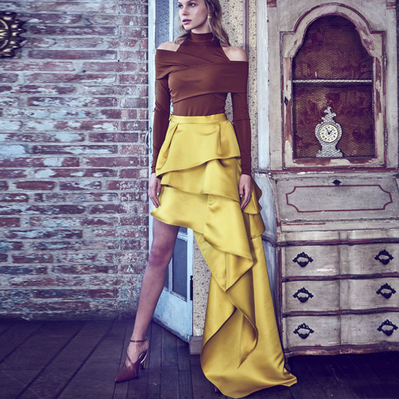 Gold Yellow Asymmetric Skirt 2019 New Tiered Pleated Satin Unique Prom Skirts For Women Chic Evening Party Skirt Custom Made