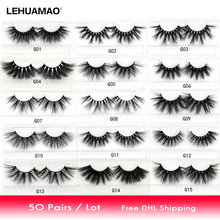 LEHUAMAO 50 Pairs/lot 25mm 5D Mink Eyelashes Fluffy Natural Long Criss-cross Cruelty Free False Eyelash Dramatic