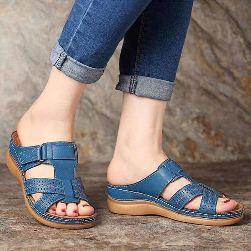 Giày Nữ Mùa Hè Giày Sandal Nữ Giày Thoải Mái Mềm Mại Giày Sandal Nữ Retro Nêm Thấp Gót Giày Đáy Dày Giày Sandal Nữ