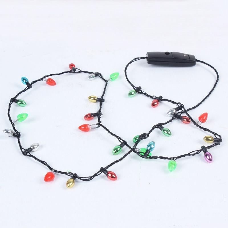 1 Pcs Mini Flashing Light-up Blinking Christmas Lights Costume Necklace 8 LED Bulbs LAD-sale