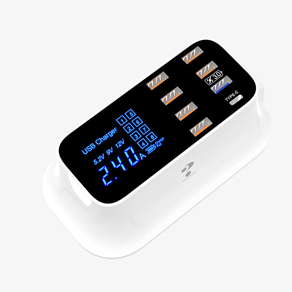 USB Charger Station 18W Fast Charging Hub With 6 USB, 1 Type-C, 1 QC 3.0, LED Digital Display For Huawei IPhone Samsung Xiaomi