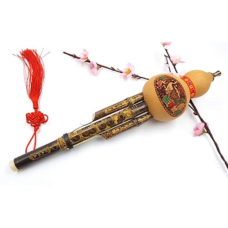 Chinese Handmade Cucurbit Silk Cucurbit Silk National Wind Recorder Musical Instrument Flute Handcraved Art Beginners Instrument